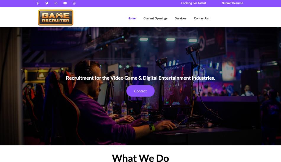 Game Recruiter website homepage screenshot, designed by Zoka Design