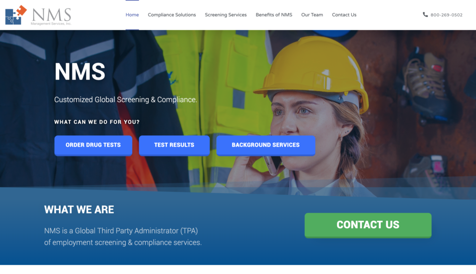 NMS Management Services, Inc. website homepage screenshot, designed by Zoka Design