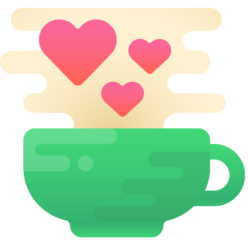 Coffee cup with hearts